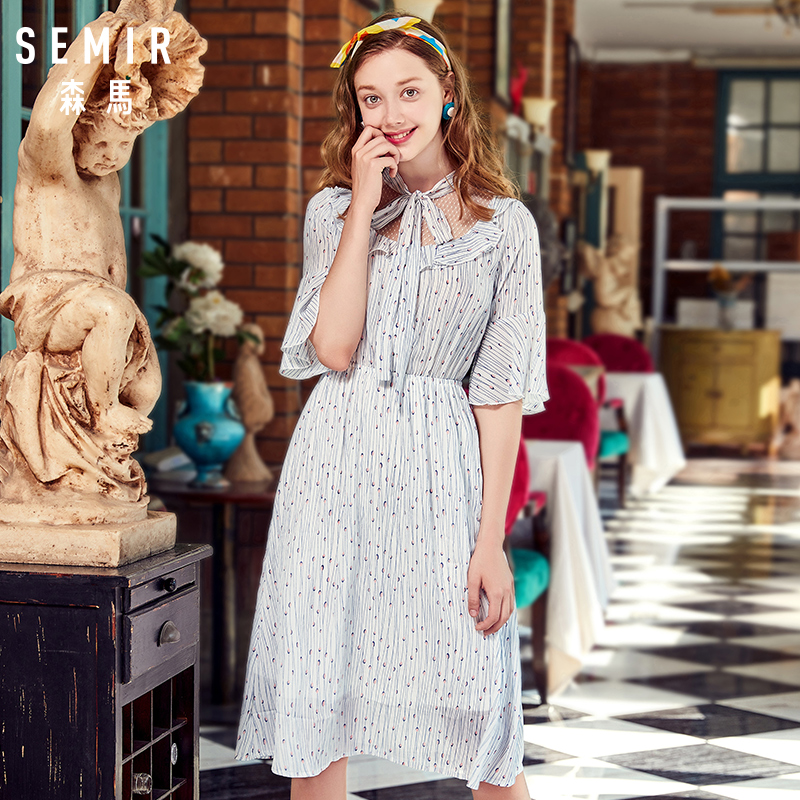 Semir Female Dress 2018 Summer New Chiffon Romantic Sweet Fresh Bow Beach Women Dresses Lace Stitching Sweet Strap Clothes Lady 2