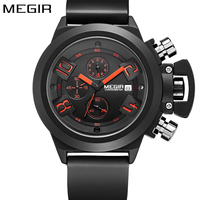 MEGIR New Brand Silicone Band Analog Chronograph Stop Watch Military Army Styligh Mens Watches Top Brand