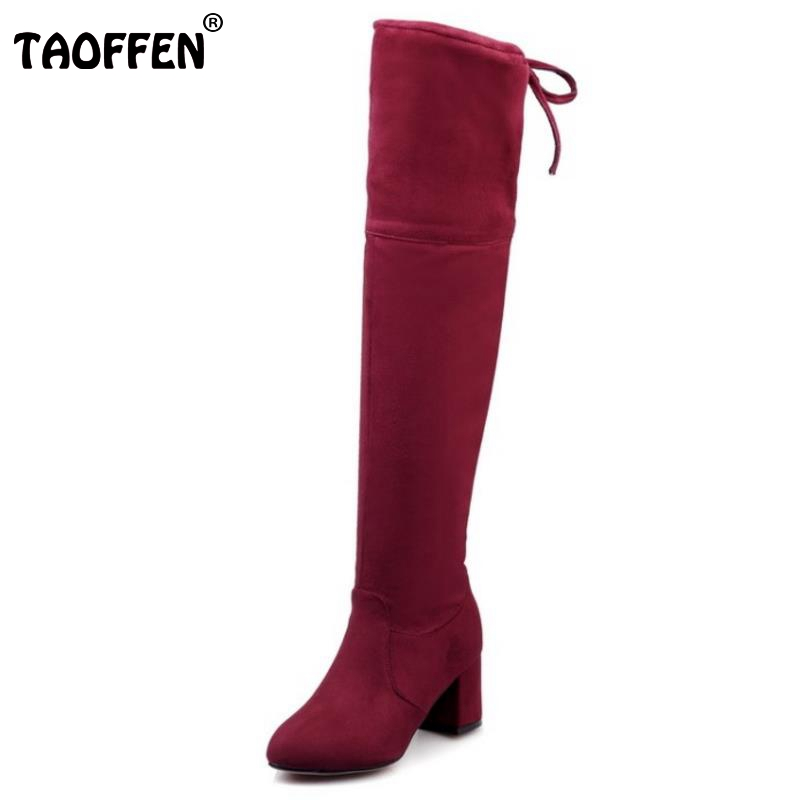 Fashion Women Boots Winter Round Toe Over Knee High Botas Mujer Square Heel Fur Shoes Ladies Keep Warm Snow Boot Size 32-43 choudory botines mujer black thigh high boots square heel round toe zip over knee high boots fashion motorcycle booties women