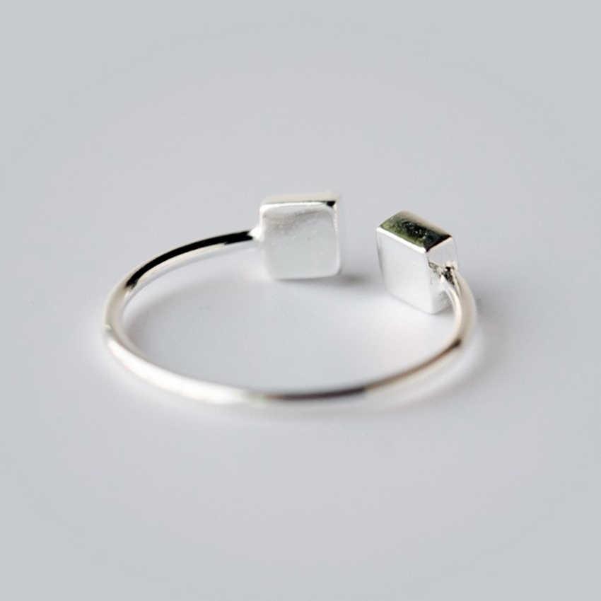 Kinitial 1 Cái 925 Sterling Silver Đúp Vuông Mở Midi Ring Finger Knuckle Hình Học Vòng Trang Sức cho Phụ Nữ Hiện Đại Nhẫn