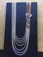 3 4 мм природных небольшой свежий воды жемчужное ожерелье Nearround нескольких слоев 925 серебро с фианит Бабочка Фея