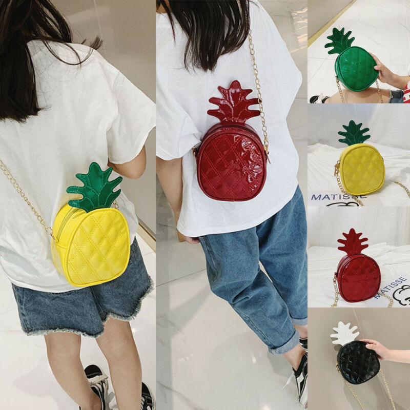 Fashion Baby Girls Kids Pineapple Cross-body Handbag PU Shoulder Messenger Bag