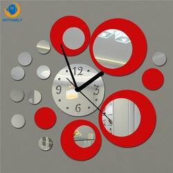 2018 NEW 3d Wall Clock Modern Design DIY Large Size Decorative Sticker Mirror Quartz Needle for Living Room Kitchen Children
