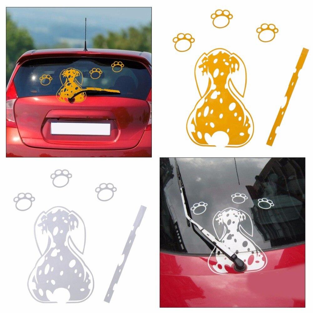 Dwcx car rear windshield window wiper decals pet dog for toyota audi a6 mercedes benz e class bmw f18 vw golf kia nissan qashqai in car stickers from