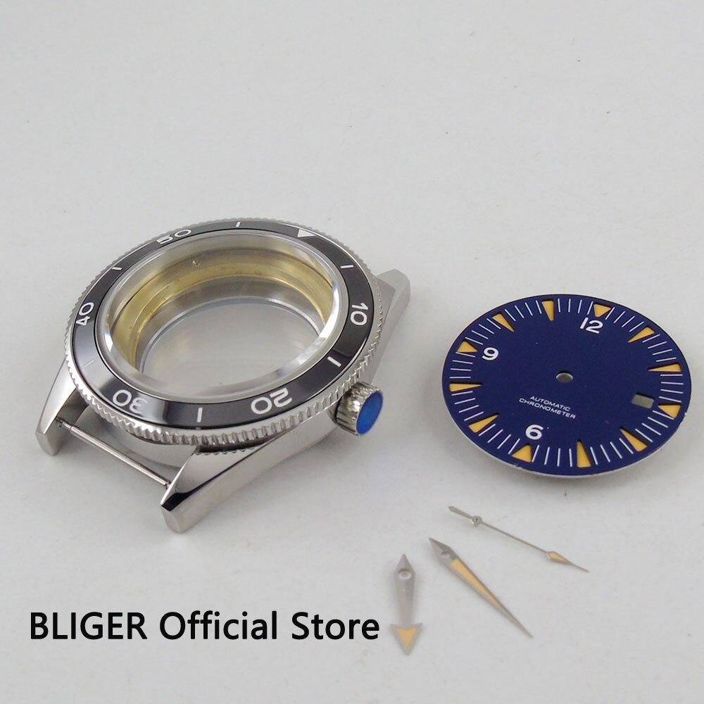Caixa do Relógio Preto de Cerâmica Moldura de Aço Inoxidável + Mostrador Azul + Ponteiro Apto para Eta Luminoso Automatic Movimento 41 mm 2836