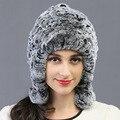 Mostrar a las mujeres de señora winter hat fashionwinter Super caliente grueso de la vendimia estilo Ruso de piel casquillo de la señora de piel de conejo rex sombrero libre gratis