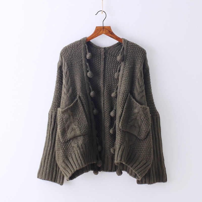 Neploe 2020 outono novo japonês retro tricô bolso cardigan feminino mão bola tassal solto manga longa curta camisola casaco 65990