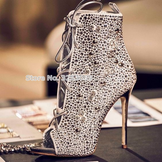 ALMUDENA Sparkling Women Crytal Boots Tie up Rose Gold Silver Diamond Wedding Shoes Dress Pums Open Toe Ankle Boots Dropship