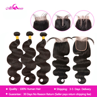 Ali Coco Brazilian Body Wave Bundles With Closure Natural color/ #2/#4 100% Human Hair Weave Bundles With Closure Non Remy Hair
