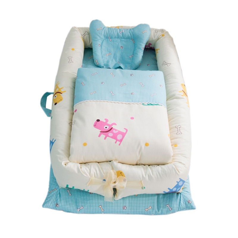 4pcs Baby Baby Nest Beds Foldable Portable Crib Cotton Baby Travel Bed Folding Toddler Cradle Newborn Bumpers Baby Beding Set-in Baby Cribs from Mother & Kids    1