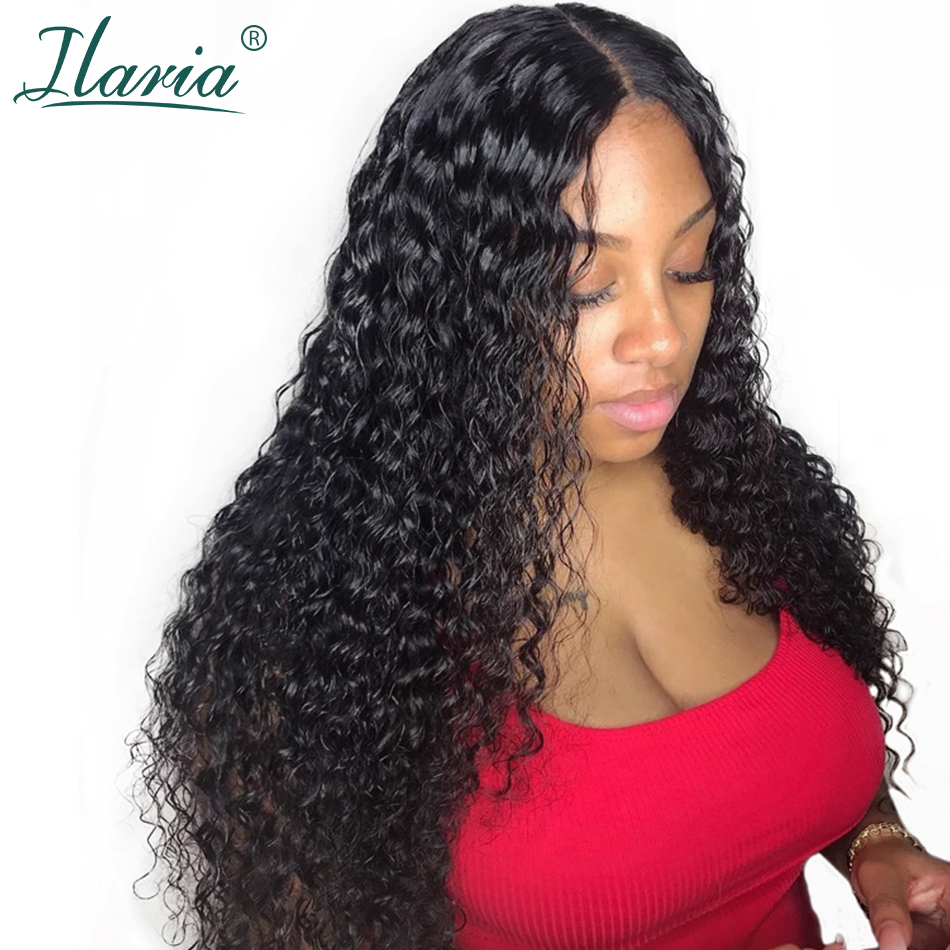 ILARIA 250% densité 360 dentelle frontale perruque pré plumé dentelle avant perruques de cheveux humains pour les femmes brésilienne cheveux bouclés dentelle perruque
