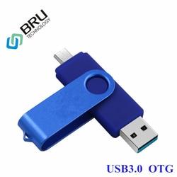 BRU 16GB32GB64GB OTG clé USB pour téléphone pivotant Android clé USB USB3.0 mémoire bâton OEM personnalisé graver impression Logo