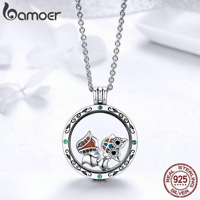 BAMOER 100% Authentische 925 Sterling Silber Geheimnis Power Box Petite Schwimm Medaillon Halsketten für Frauen Silber Schmuck SCF101