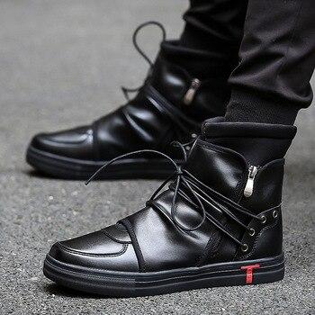 الهيب هوب الرقص الرجال والجلود الناعمة حذاء أبيض الأزياء عالية أعلى حذاء رجالي كاجوال تنفس عبر ربط الغربية الأحذية الأسود