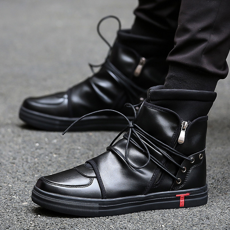 Hip Hop Dance Men Soft Leather White Shoes Fashion High Top Men's Casual Shoes Breathable Cross Tied  West Boots Black