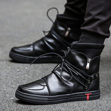 Hip hop dance Men soft leather white Shoes Fashion High top Men's Casual Shoes Breathable cross tied west boots Black(China)