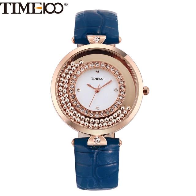 b1c9ee2abec 2016 TIME100 Relógios Femininos de Quartzo Vintage de Luxo Movimento de  Bead Diamante Luminoso Discar Grande
