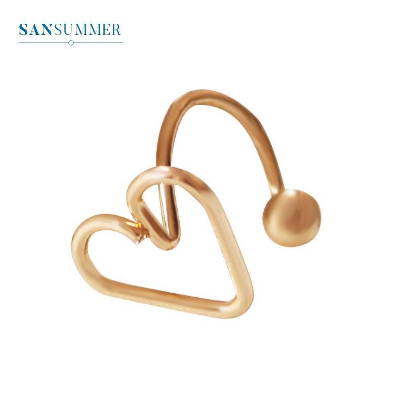 Sansummer 2019 New Hot Fashion Golden Hollow Heart 1PC Ear Bone Girl Lovely Clip Earrings For Women Charm Jewelry 471
