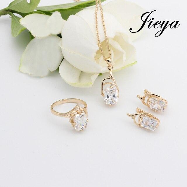 Square 585 oro blanco conjuntos de joyas Natural Cubic Zricon joias ouro 585 pendientes del oro + anillo accesorios de la boda novia juegos de joyería