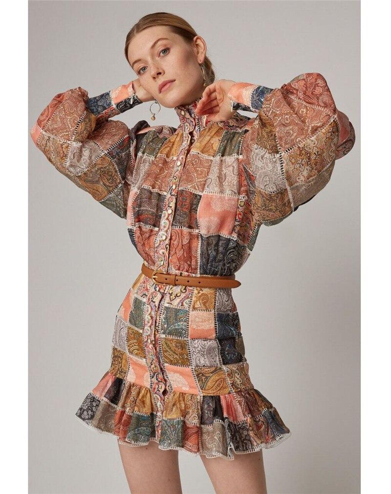 Kadın Giyim'ten Elbiseler'de 2019 Yeni gelmesi Kadın patchwork elbise'da  Grup 1