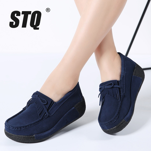 STQ 2020 Autumn Women Flats Shoes Tassel Fringe Platform Shoes Leather Suede Casual Shoes Slip On Flats Footwear Creepers 1319