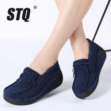 STQ zapatos planos con flecos y borlas para mujer, zapatillas de plataforma de cuero de ante, informales, sin cordones, Creepers, 2020