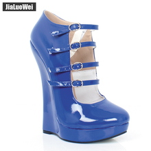 цены Women Sexy PU leather Stiletto Sandals Female Fashion High Heels Shoes Pumps Spring/Summer/Autumn party Wedges Plus Size 36-46