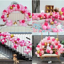 METABLE Pink Party Balloons 110 Pcs 12in Hot Pink & Gold Metallic Pearlescent Balloons Arch for Wedding Baby Shower Party decor