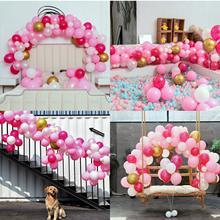 Mesable rosa balões de festa 110 pçs 12in quente rosa & ouro metálico pearlescent balões arco para casamento festa de chuveiro de bebê decoração