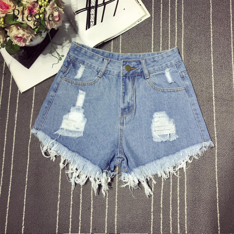 Plegie Harajuku Denim Shorts Women Vintage Ripped Hole High Waist Shorts 5XL Plus Size Short Feminino Ropa Mujer Verano 2018