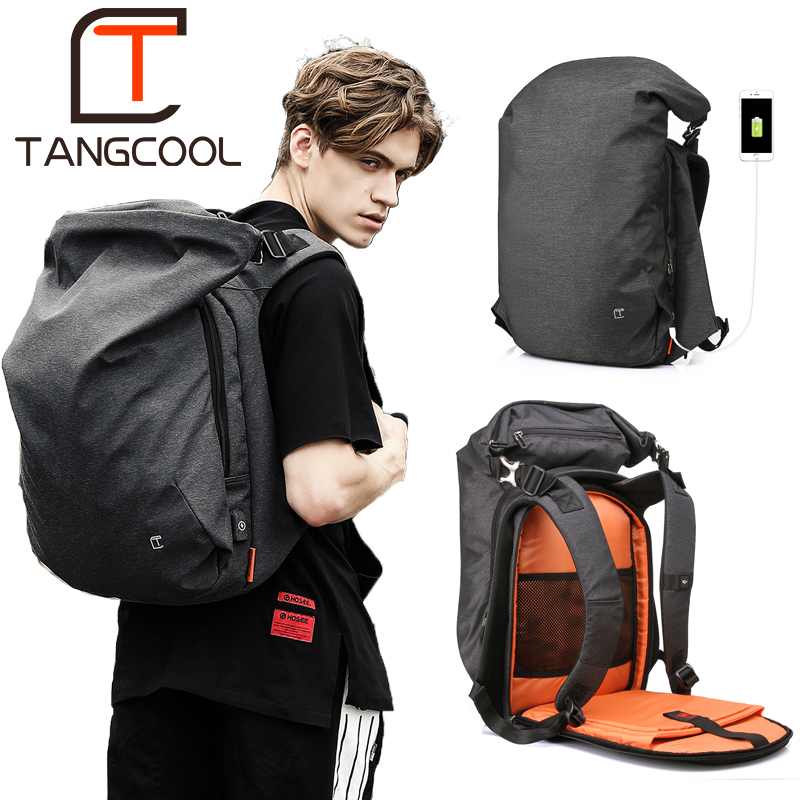 Tangcool Men Backpack For 15 6 inches Laptop Backpack Large Capacity Fashion Student Backpack Waterproof Rucksack