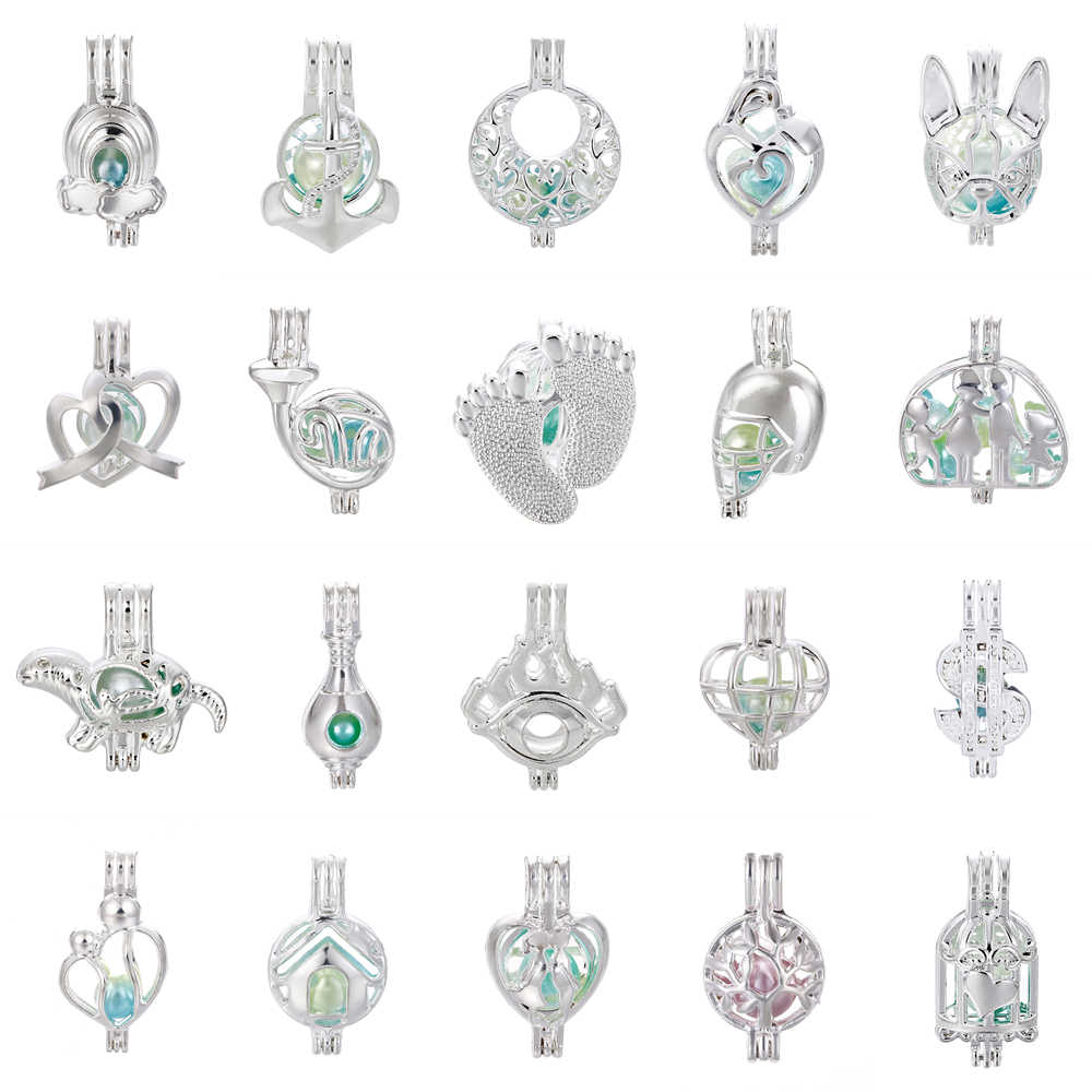 1pcs Silver Family Heart Ribbon Moon Lover Oyster Pearl Cage Jewelry Making Beads Cage Pendant Essential Oil Diffuser Locket