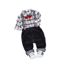 2019 New Spring Autumn Toddler Children Clothes Suit Gentleman Style Baby Boys Clothing Sets Shirt Bib Pants Kids Infant Costume цена