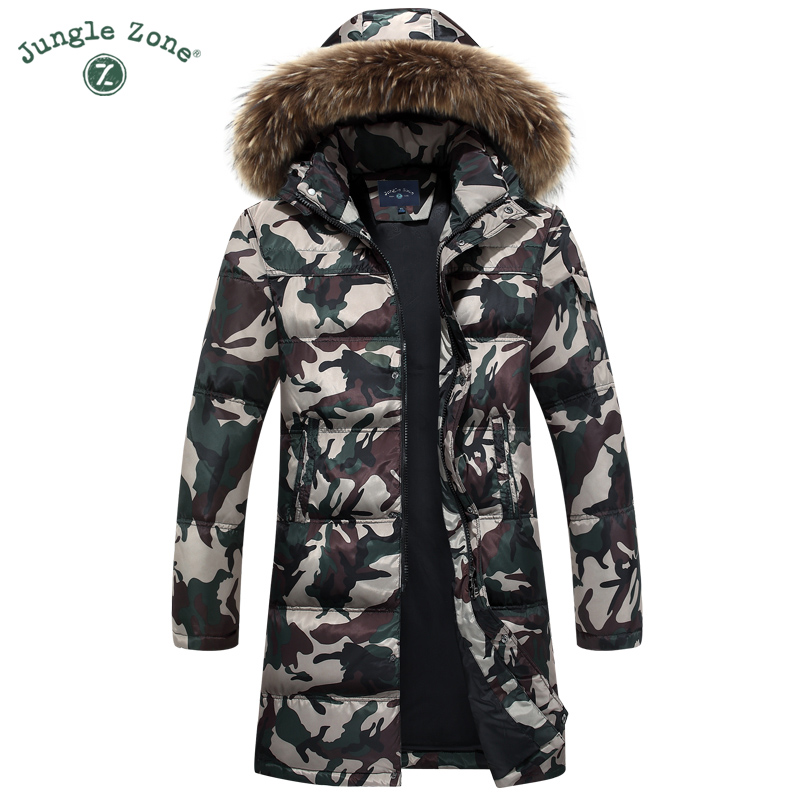 Winter thickening down coat Camouflage down Jacket Long coat for men casual hooded fur collar <font><b>White</b></font> duck down coats M-4XL
