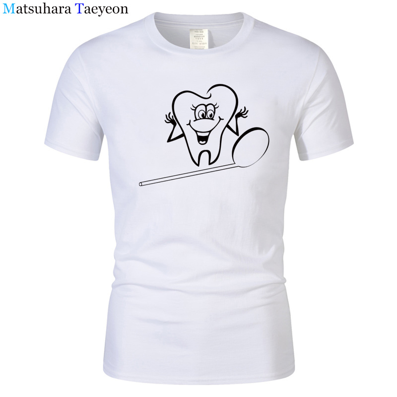 Summer Funny T-Shirt Man Tooth Dentist T Shirt Male Cotton Tees Great Man Print Tee Short Sleeve Printing Brand Clothing T68