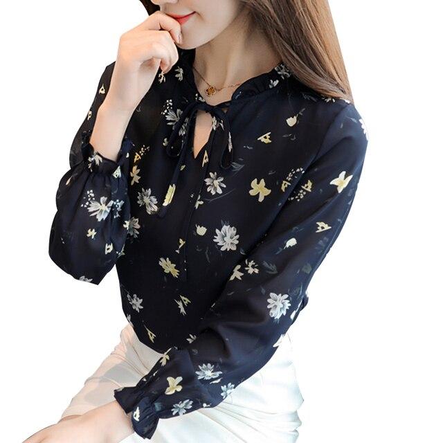 4XL Fashion Floral Tops Blouses Mujer Summer Short/Long Sleeve Femme Loose Shirts Print Chiffon Women Blouses Femininas Blusas