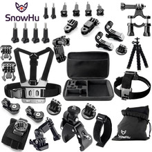 цена на Gopro Hero Accessories Set Helmet Harness Chest Belt Head Mount Strap Monopod Go pro hero4 3+session 3+ xiaomi yi Black Kit GS20