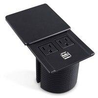 2019 Desktop Power Grommet Data Center Desk Outlet Socket with 2 USB Ports Hidden Design (Black)