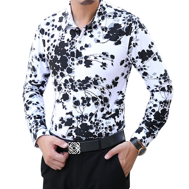 2016 New Spring Fashion Casual Mens Shirt Long Sleeve Floral ...