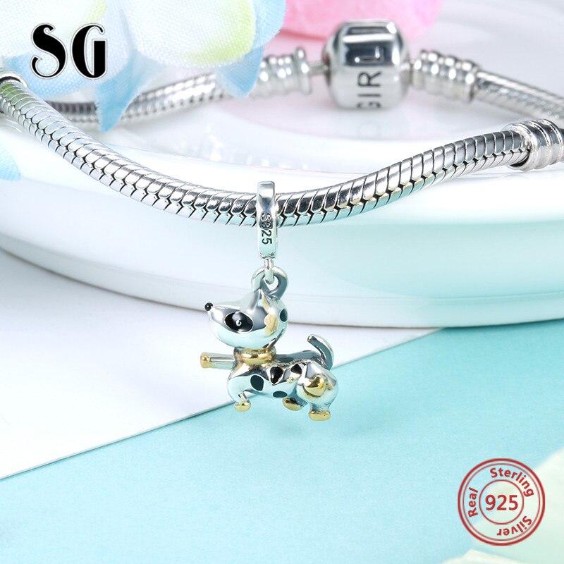 SG Pandora charms 925 Sterling silver original designblack Enamel craft Dog Puppy fit authentic pandora bracelet for women gifts бижутерия pandora 925 790122