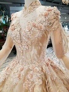 Image 5 - LS474110 lüks müslüman akşam elbise uzun kollu yüksek boyun 3D çiçek altın balo dubai kadınlar occasion elbise ücretsiz kargo