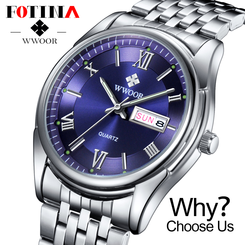 FOTINA Top Brand WWOOR Watch Men Day Date Stainless Steel Relojes Dress Men Clock Quartz Sport