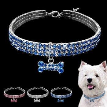 Blue Pink White Dog Rhinestone Necklace Bone Pendant Bling Collar Pet Decoration Small Animals Habitat Decoration Freeshipping