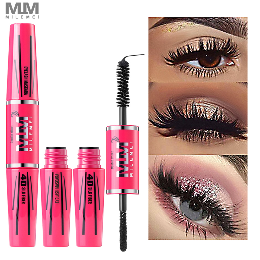 4D Silk Fiber Lash Mascara Eyelash Mascara Eye Lashes Makeup New Long Curling Black Waterproof Fiber Mascara Brand Milemei 2018