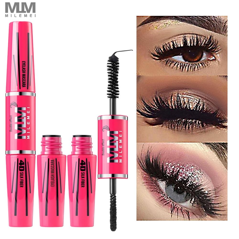 4D Silk Fiber Lash Mascara Eyelash Mascara Eye Lashes Makeup New Long Curling Black Waterproof Fiber Mascara Brand Milemei 2018