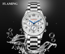 FLAMING SPORT Series Fashion 2 Models Miyota Chronograph Quartz Movement Watches Men Waterproof  Wristwatch Outdoor Gifts