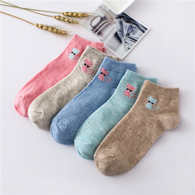 Cat with Bow Tie Printed Socks for Women