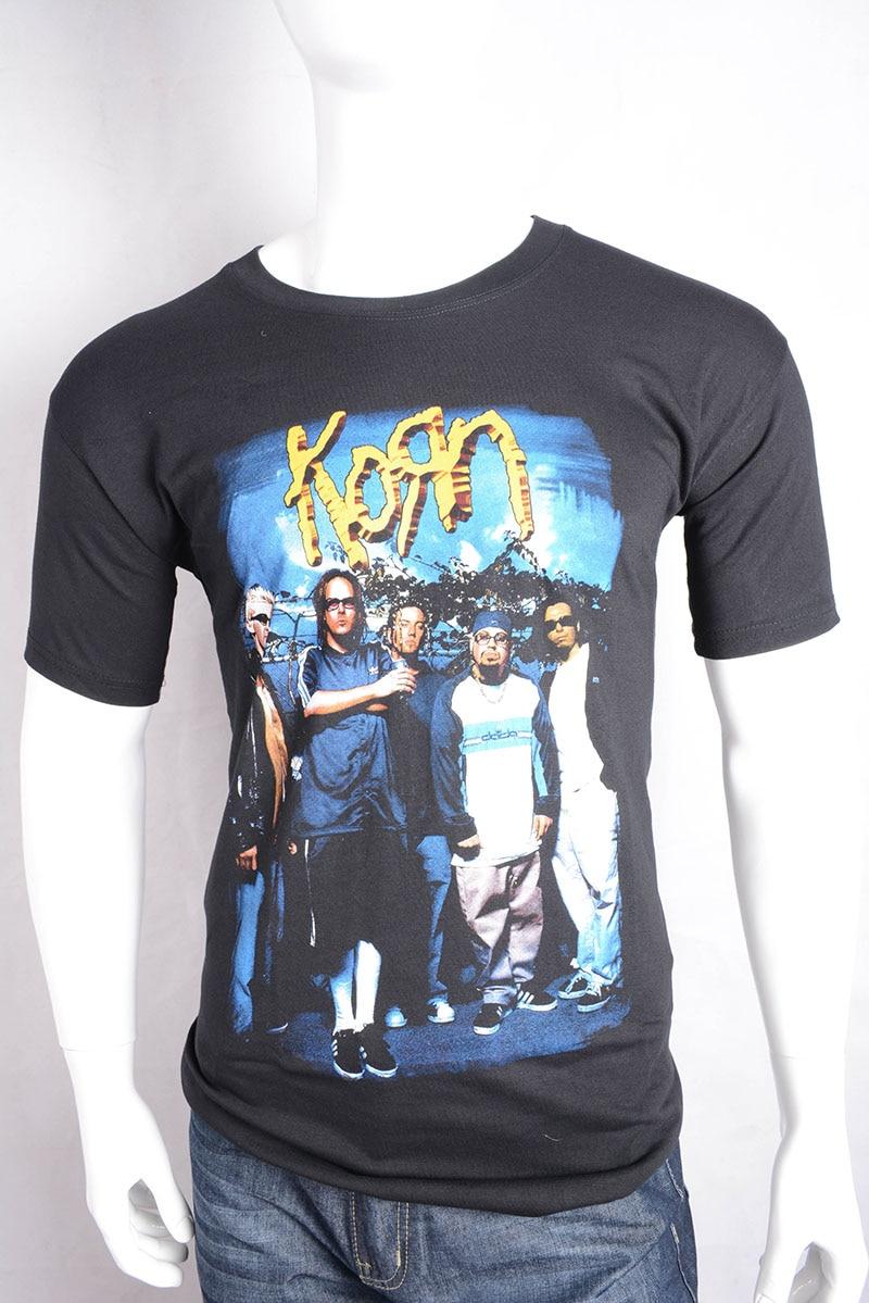 KORN LOGO men Black T-shirt Men Shirt Rock Band Tee Langarm
