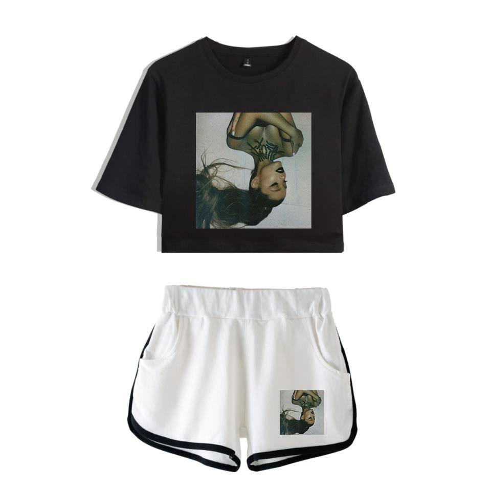 Ariana Grande Ladies Printed Women Sets New Album Oversize Navel short sleeve and Short Pants O-neck Summer Set XXS-2XL