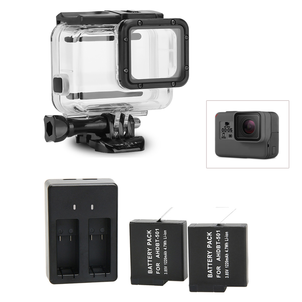 2pcs For GoPro 5 6 Battery and Charger+Waterproof housing Case Protective shell For GoPro Hero 6 Hero 5 Black Accessories camouflage protective housing case standard border frame for gopro hero 5 6 black edition